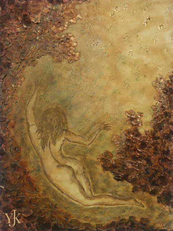 Escape-Surrealistic acrylic painting with woman in gold and brown.
