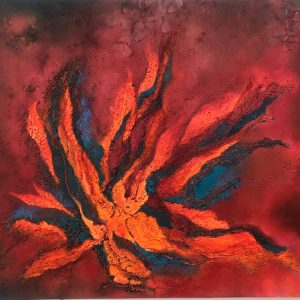 Fiery-Acrylic painting in red, orange and turguoise.