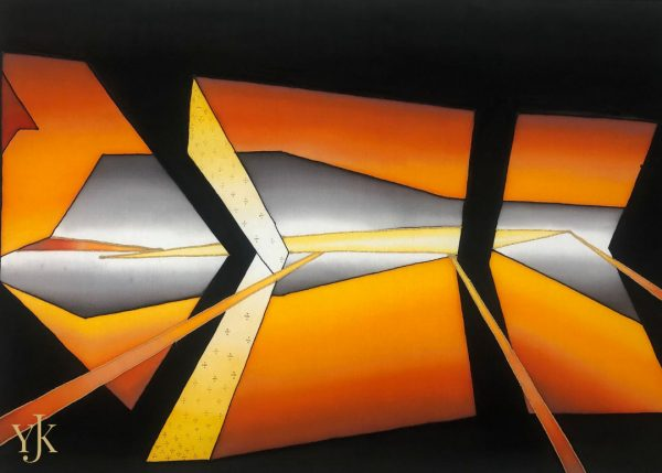 Golden Perspectives-Abstract silk painting with clean lines in black, yellow and gray tones.