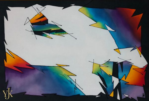 Kites-Abstract silkpainting in all colours of the rainbow.