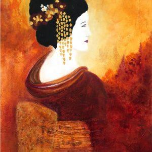 Maiko-Acryl schilderij met een Japanse Maiko in goud, geel, oranje en rood tinten.