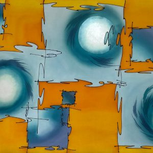 Mirrored Universe-Abstract silk painting in yellow and turquoise tones.