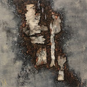 Nature III-Acrylic painting with birch wood and mixed media.