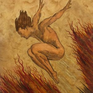 Power- Surrealistic acrylic painting of a jumping man in ocher and dark red.