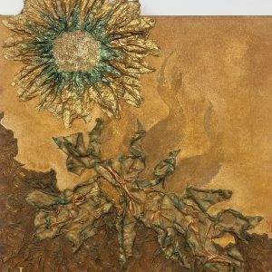 Rising Sun- Abstract acrylic painting with a sun in ocher and gold.