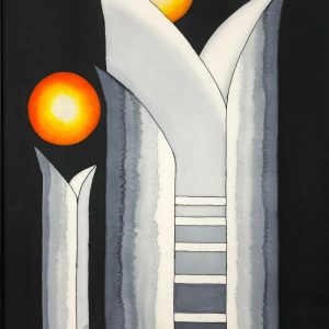 Stairway to Heaven-Abstract silk painting in black, gray, white and yellow.