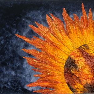 Sunny Side-Abstract acrylic painting in yellow, orange and black