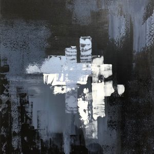 The Matrix I-Acrylic abstract painting in black and grey.