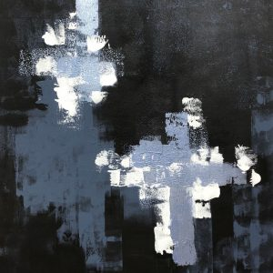 The Matrix II-Acrylic abstract painting in black and grey.