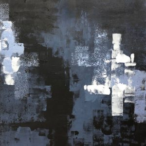 The Matrix III-Acrylic abstract painting in black, grey and white..