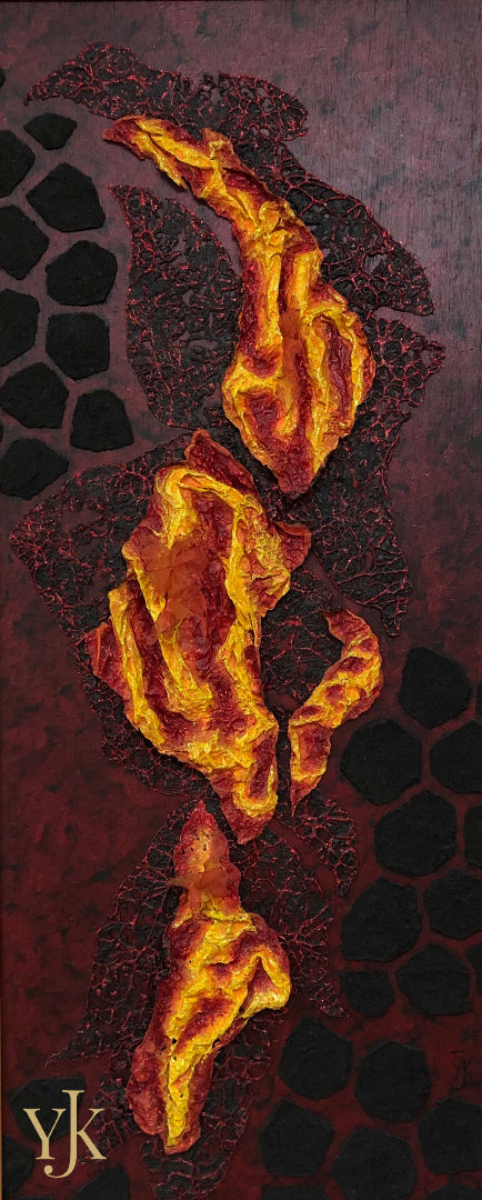 Volcanic Landscape-Acrylic painting on wood in red, yellow black