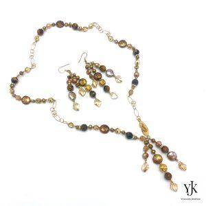 Izarra Gold Swarovski & Pearl Jewelryset-Sieradenset goud met Swarovski, parels en strass.